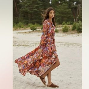 New Anthropologie Vale Maxi Floral Tie Shirtdress